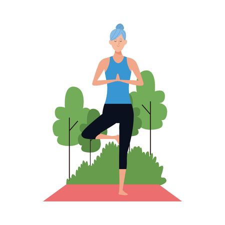 woman practicing yoga tree pose at outdoors over white background, vector illustration