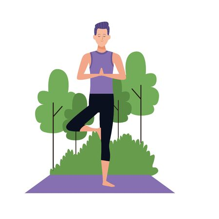 cartoon man doing yoga tree pose at outdoors with trees over white background, colorful design , vector illustration
