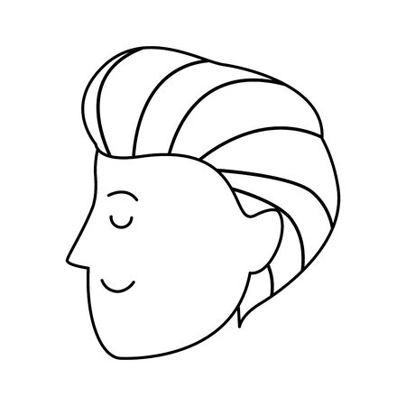 profile of cartoon man face icon over white background, vector illustration Illustration