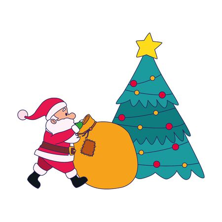 christmas tree and santa claus with big bag over white background, vector illustration