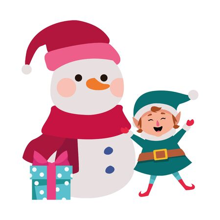 christmas elf and snowman with gift box icon over white background, vector illustration