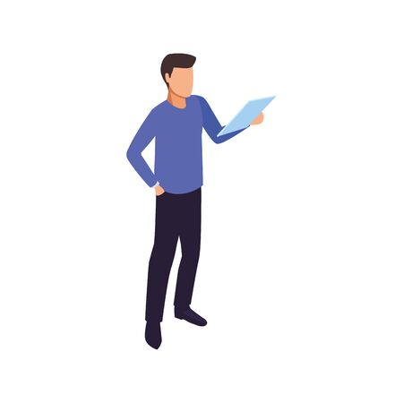 avatar man holding a tablet icon over white background, vector illustration