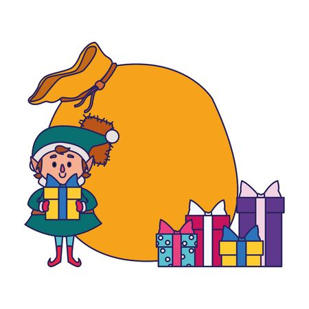 santas helper with gifst boxes and big bag over white background, vector illustration