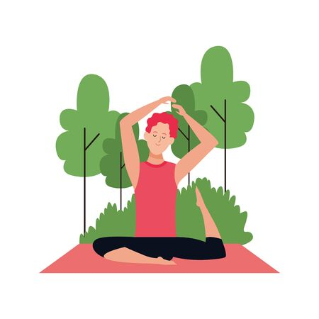 cartoon man practicing yoga pose at outdoors over white background, vector illustration