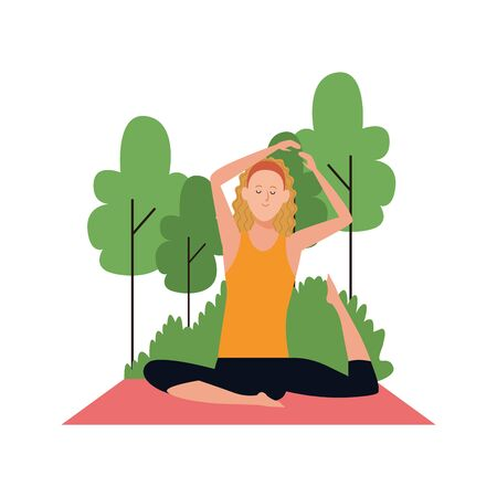 cartoon woman doing yoga at outdoor with trees over white background, colorful design , vector illustration