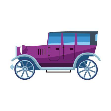 purple vintage car icon over white background, vector illustration Foto de archivo - 134810062