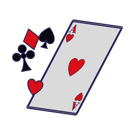 playing cards symbols and ace of heart card icon over white background, vector illustration Vetores