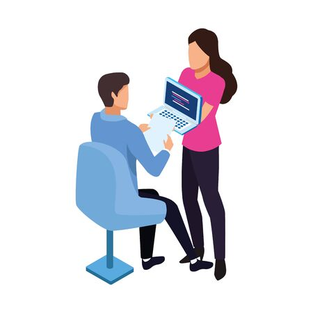 avatar woman showing a laptop computer and man sitting on a chair icon over white background, vector illustration
