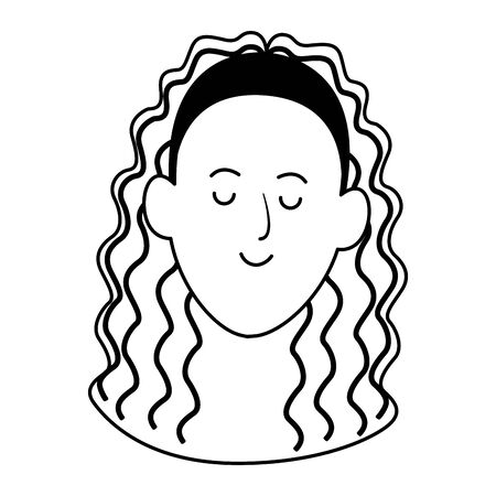 cartoon woman face with curly hair icon over white background, flat design , vector illustration