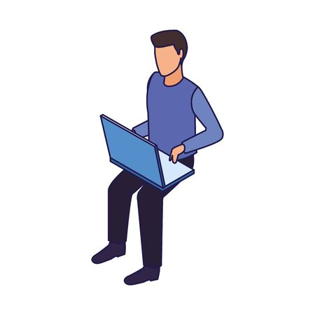 avatar man using a laptop computer icon over white background, vector illustration