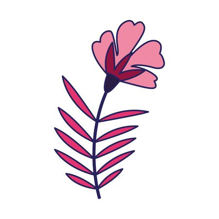 pink flower with leaves icon over white background, vector illustration Ilustrace