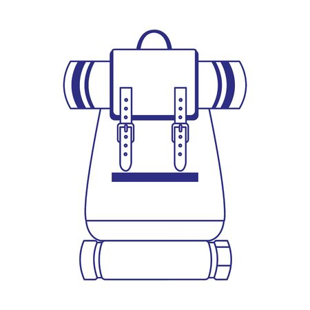 camping backpack with sleeping bags icon over white background, vector illustration Stock Illustratie
