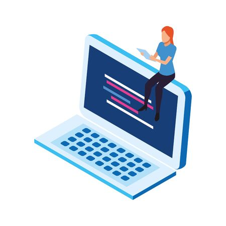 avatar woman sitting on a laptop computer over white background, vector illustration