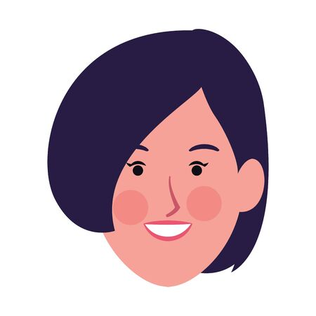 cartoon woman face with short hair icon over white background, vector illustration