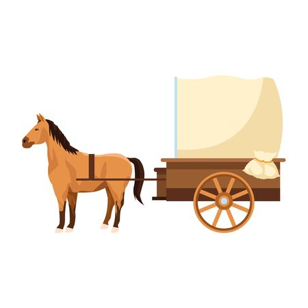 horse and vintage carriage icon over white background, vector illustration