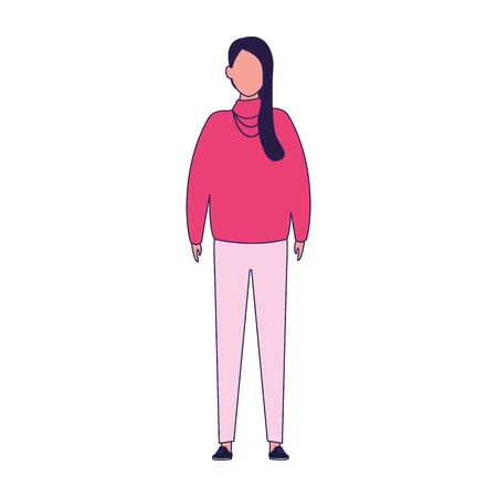 woman wearing pink sweater icon over white background, vector illustration Archivio Fotografico - 134809207