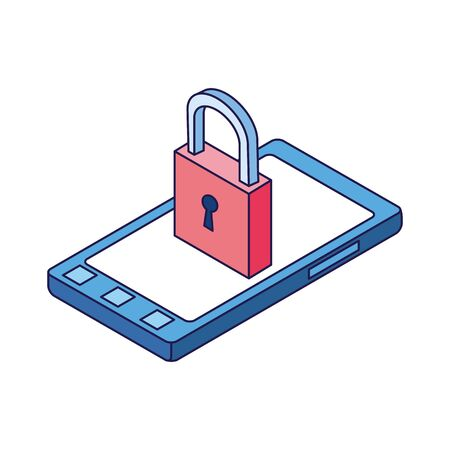 padlock and smartphone icon over white background, vector illustration 일러스트