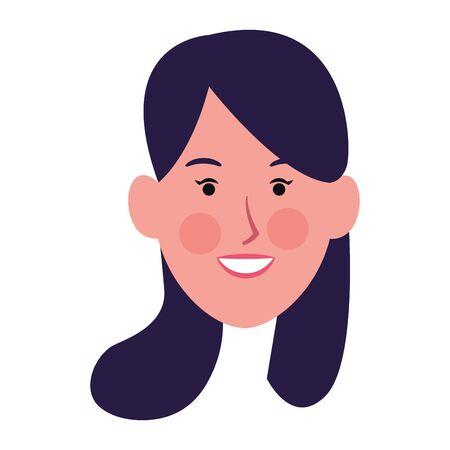 happy woman smiling icon over white background, vector illustration Archivio Fotografico - 134809386