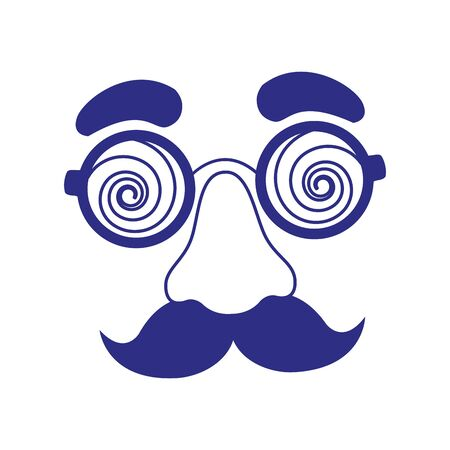 crazy glasses and mustache icon over white background, vector illustration
