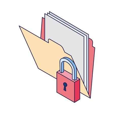 securiy padlock with documents folder icon over white background, vector illustration Illusztráció