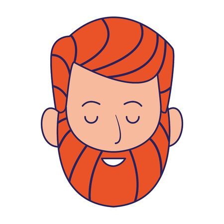 man with beard icon over white background, vector illustration