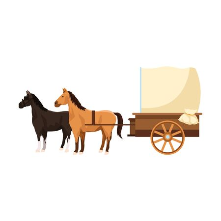 western carriage with horses icon over white background, vector illustration