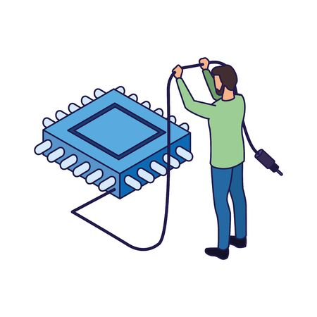 avatar man holding a cord and electronic chip icon over white background, vector illustration