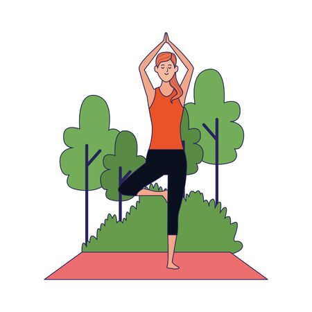 cartoon woman doing yoga tree pose at outdoors over white background, colorful design , vector illustration