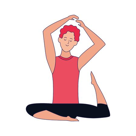 cartoon man doing yoga icon over white background, colorful design , vector illustration Ilustração