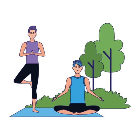 cartoon men doing yoga at outdoors over white background, colorful design , vector illustration