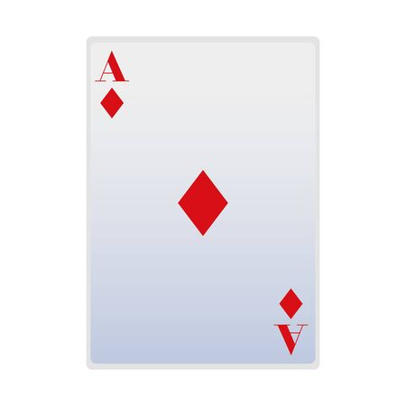 ace of diamonds card icon over white background, vector illustration