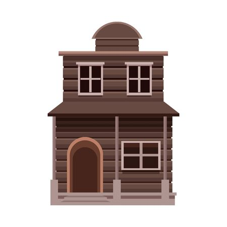 western house icon over white background, vector illustration