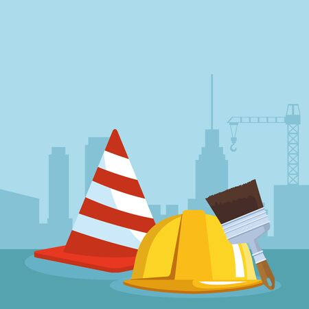 construction helmet, traffic cone and paint brush over under construction scenery background, colorful design , vector illustration
