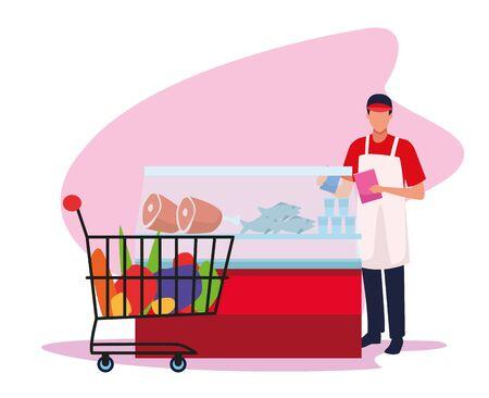 supermarket worker at meat fridge and supermarket car over white background, colorful design , vector illustration