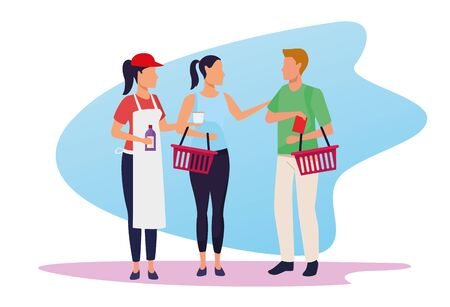 avatar supermarket worker giving samples a customers over white background, colorful design , vector illustration