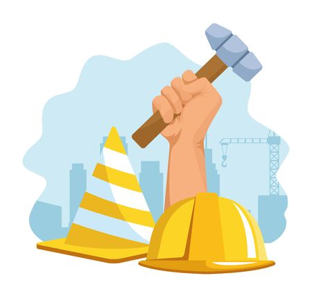 hand holding a hammer and safety helmet and cone over white background, colorful design , vector illustration Ilustrace
