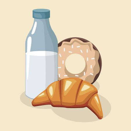 milk bottle with sweet donut and croissant over white background, colorful design , vector illustration