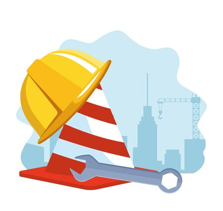 traffic cone with safety helmet and wrench tool over white background, colorful design , vector illustration