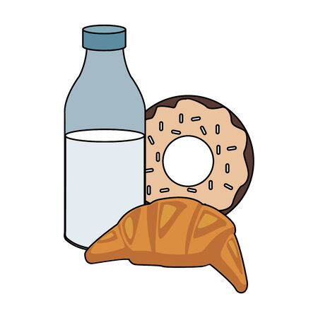 milk bottle with croissant and sweet donut icon over white background, vector illustration 向量圖像