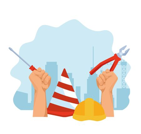 construction cone and helmet and hands with tools over blue and white background, colorful design , vector illustration Reklamní fotografie - 134688772