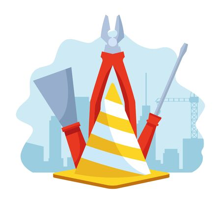 traffic cone with tools over under construction scenery background, vector illustration Ilustrace