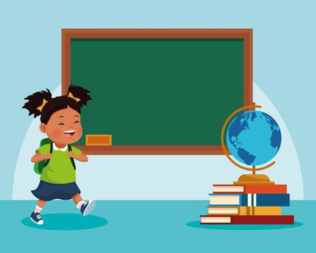 cartoon girl and school chalkboard and stack of books with globe over blue background, colorful design , vector illustration