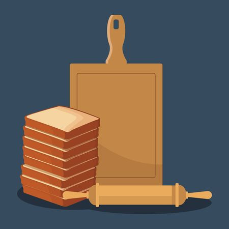 loaves stack with chopping board and rolling pin over blue background, colorful design , vector illustration