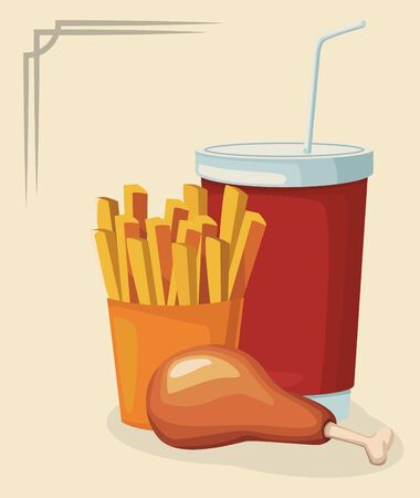 chicken thigh with french fries and soft drink cup over white background, colorful design , vector illustration