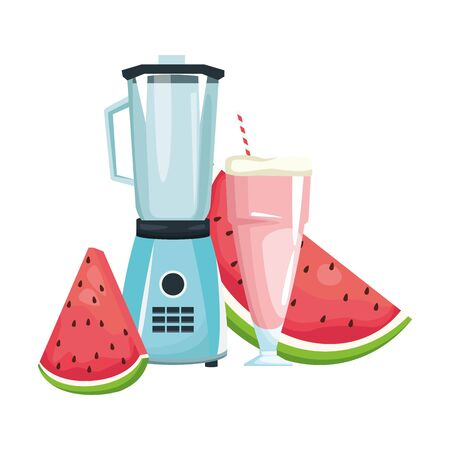 watermelon juice and slices and blender over white background, vector illustration