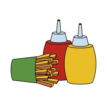 french fries and sauces bottles over white background