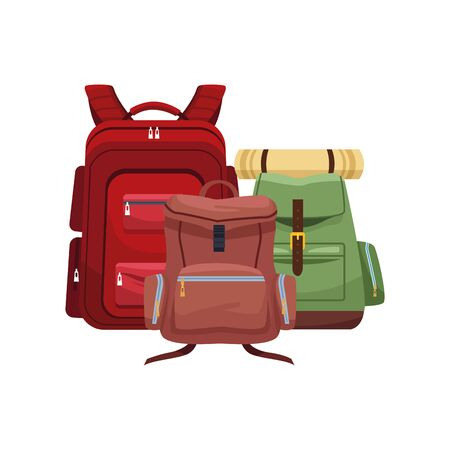 travel backpacks icon over white background