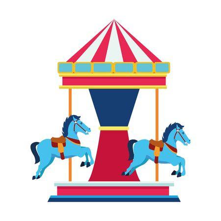 horse carousel icon over white background, vector illustration
