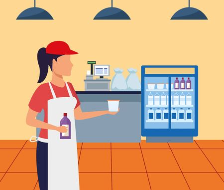 avatar supermarket worker giving a cup sample, colorful design , vector illustration Illustration