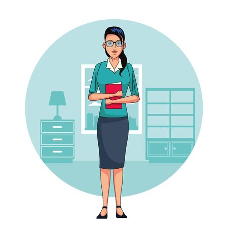 Executive businesswoman in office cartoon round icon vector illustration graphic design Illustration